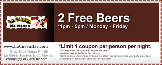 Coupon - 2 FREE Beers - *1pm - 5pm / Monday - Friday